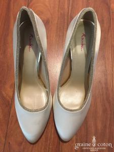 Rainbow - Escarpins (chaussures ragent paillettes) en satin ivoire clair