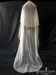 Laure de Sagazan - Voile long de 2 mètres en tulle fluide ivoire (avec rabat bords bruts)