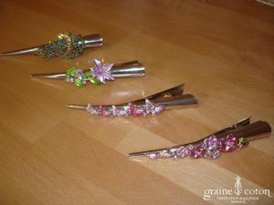 Pince décorée de strass colorés (fleurs ou papillons)