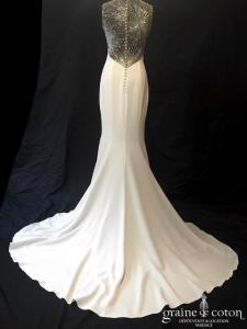 Atelier Pronovias - Galaxy (sirène crêpe de soie bretelles dos-nu dentelle perles dos boutonné décolleté-V fluide)