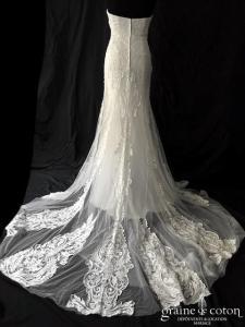 Couture Nuptiale - Renata (sirène coeur bustier dentelle guipure dos boutonné fluide dos-nu sequins)