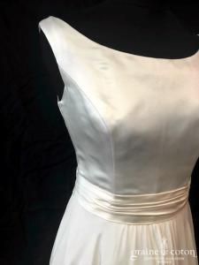 Dessine moi une robe - Création en satin duchesse et crêpe georgette (bateau fluide taille-haute bretelles princesse bohème dos boutonné)