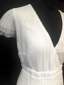 Maison Lemoine - Rosa (mi-longue courte fluide tulle plissé manches bretelles cache-coeur fente empire taille-haute)
