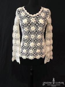 PinKiss - Top pull en crochet ivoire (manches)