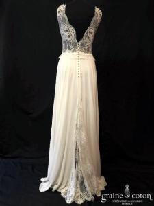 Jordana et Laura Sitbon - Création en mousseline de soie et dentelle de Calais ivoire (bretelles décolleté-V dos-nu fluide bohème dos boutonné taille-haute)
