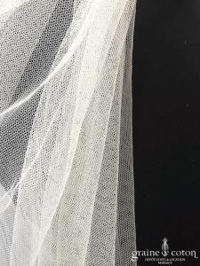 Pronovias - Voile long de 3 mètres en tulle fluide bords bruts (avec rabat)