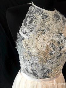 Mywony - Melita (bohème fluide mousseline voile dentelle dos-nu bretelles encolure américaine taille-haute fendue nude)