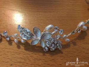 Bianco Evento - Headband fleurs argentées perles et strass (3105 cheveux couronne)