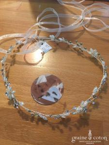 Bianco Evento - Headband fleurs argentées perles et strass avec ruban organza (2904 cheveux couronne)