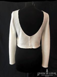 Bianco Evento - Pull gilet boléro en laine effet cachemire (manches longues dos boutonné dos-nu E326)