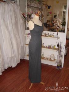 Corps sage - Robe longue en jersey gris (non stocké en boutique, essayage sur demande)