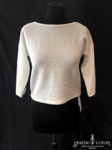 Bianco Evento - Pull en laine effet cachemire (manches 3/4 dentelle dos-nu E327)