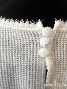 Bianco Evento - Pull court en laine effet cachemire (manches 3/4 dentelle dos-nu fendu E334)