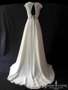 Bianco Evento - Arleta (bohème fluide mousseline dentelle bretelles dos-nu taille-haute décolleté-V)