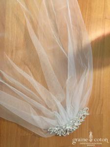 Création - Voilette montée sur peigne en tulle et strass (bijou cheveux)