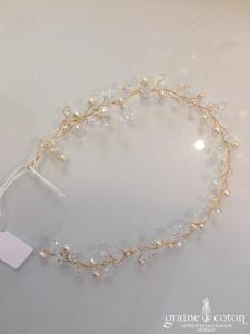 Création - Headband en perles ivoire et transparentes (cheveux)