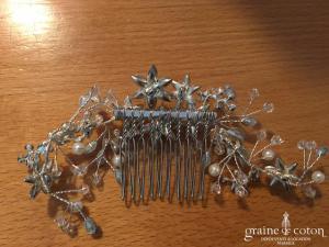 Création - Peigne en strass et perles motifs fleurs (cheveux)