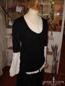 Lulu Castagnette - Haut chemisier et jersey noir (non stocké en boutique, essayage sur demande)