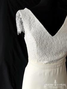 Marion Kenezi - Valentine (top jupe guipure mousseline crêpe de soie manches bretelles taille-haute bohème fluide décolleté-V dos-nu)