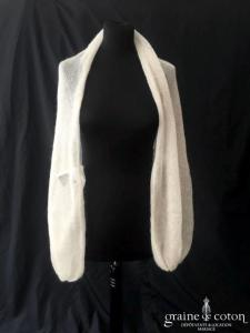 La fée Mohair - Étole à manches couleur ivoire (mohair soie chaud)