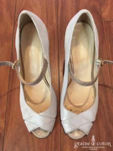 Dessine-moi un soulier - Sandales ouvertes (chaussures) et lanière chevilles en nubuck irisé