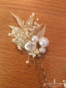 Les couronnes de Victoire - Lot de 6 pics Ombelline à chignons fleurs stabilisées ivoires