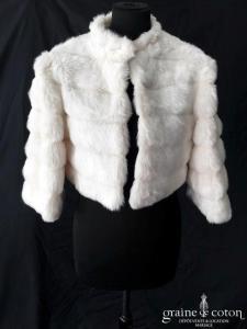 Manteau chaud en fausse fourrure ivoire clair (manches longues)