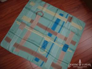 Lancel - Foulard en soie bleu turquoise