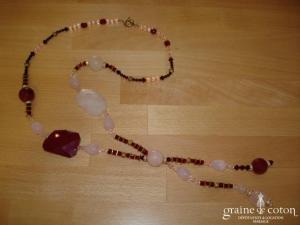 Collier en quartz rose et rouge foncé