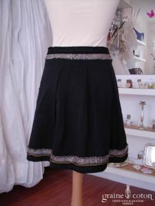 BCBG (Max Azria) - Jupe taille basse noire et pailletée courte