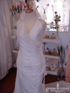 La Sposa - Robe avec bretelle tour de cou (soie sauvage organza)