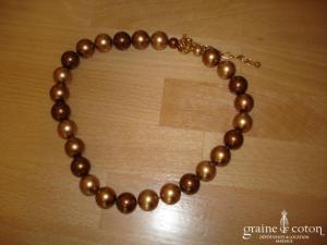 Loews - Collier de grosses perles de Majorque cuivre/doré