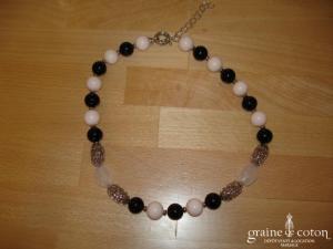 Loews - Collier de grosses perles  de Majorque rose et noir