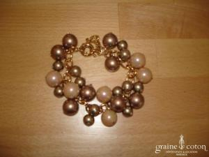 Loews - Bracelet de grosses perles  de Majorque cuivre et rose