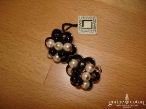 Loews - Boucles d'oreille pinces en perle de Majorque noires et blanches