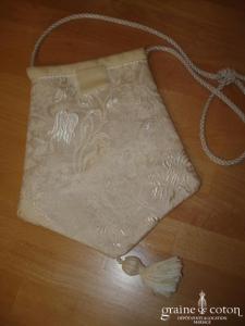 Carmélina créations - Pochette Asia en soie broché ivoire