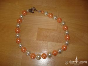 Loews - Collier de grosses perles de Majorque saumon/ivoire