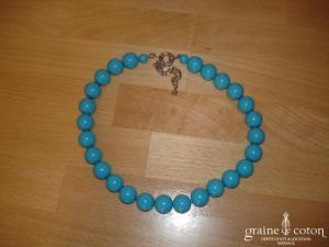 Loews - Collier de grosses perles de Majorque turquoise