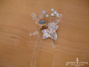 Pic à chignon perles et feuilles en pâte de verre