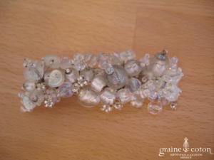 Barrette avec perles blanches, transparentes et argent