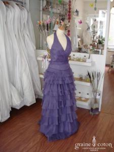 Les mariées d'Elodie - Robe de soirée violette en organza (non stocké en boutique, essayage sur demande)