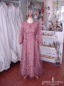 Robe de soirée rose (non stocké en boutique, essayage sur demande)