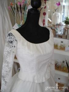 Créateur - Robe manches longues (organza de soie dentelle)