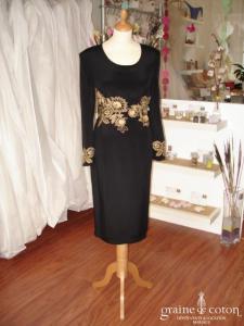 Giorgio Grati (créateur italien) - Robe de soirée mi longue en soie noire et broderies dorées (non stocké en boutique, essayage sur demande)