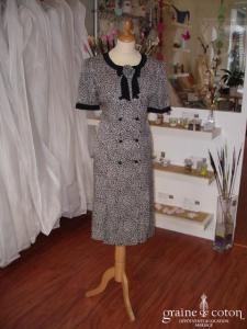 Giorgio Grati (créateur italien) - Robe de soirée mi longue en soie noire et blanche (non stocké en boutique, essayage sur demande)