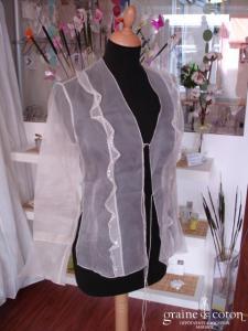 Zapa - Étole ou veste en organza de soie ivoire