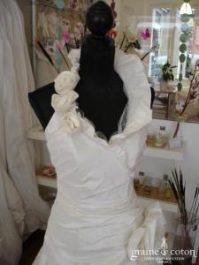 Linéa Raffaëlli - Robe une pièce ivoire, bretelle autour du cou (taffetas tulle)