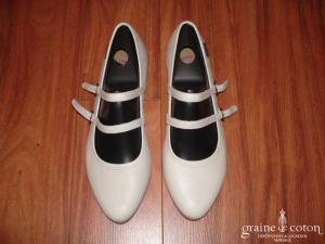 Campers - Ballerines (chaussures) en cuire et à lanières ivoires