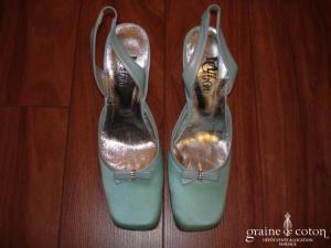 Max Chaoul - Escarpins (chaussures) en cuir et soie turquoise