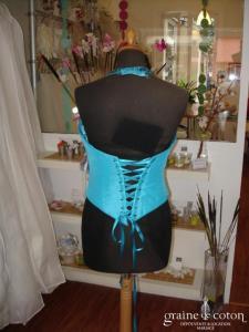 Bustier turquoise - Prototype (non stocké en boutique, essayage sur demande)